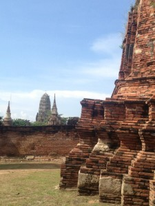 Exploring the excavated ruins of Ayutthaya