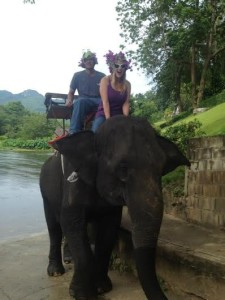 Rafael and Brittany riding an elephant (look, ma, no seatbelt!)