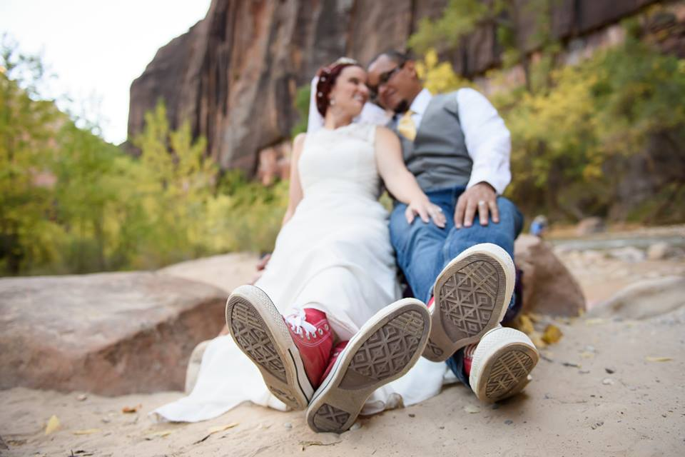 Red Chucks on our wedding day